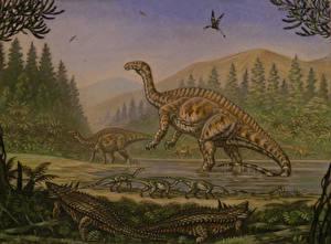 Image Ancient animals Dinosaurs Painting Art Lessemsaurus, Thecodontosaurus, Desmatosuchus