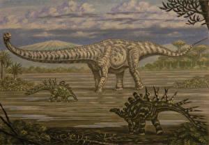 Desktop wallpapers Ancient animals Dinosaurs Painting Art Mamenchisaurus, Chialingosaurus animal