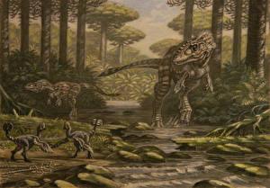 Wallpapers Ancient animals Dinosaurs Painting Art Alioramus, Nomingia