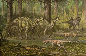 Pictures Ancient animals Dinosaurs Painting Art Barremian fauna