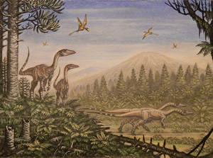 Pictures Ancient animals Dinosaurs Painting Art Coelophysis, Peteinosaurus Animals