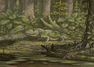 Picture Ancient animals Dinosaurs Painting Art Ophiacodon animal