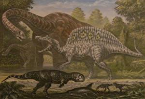 Pictures Ancient animals Dinosaurs Painting Art Paralititan, Spinosaurus, Rugops