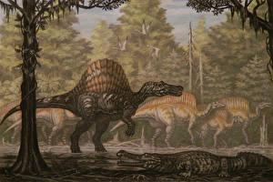Photo Ancient animals Dinosaurs Painting Art Spinosaurus, Ouranosaurus Animals