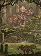 Wallpapers Ancient animals Dinosaurs Painting Art Triceratops horribus, Leptoceratops gracilis