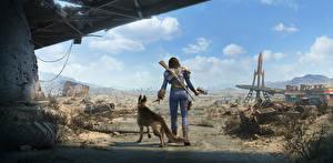 Hintergrundbilder Weltuntergang Fallout 4 Krieger Hinten Shepherd Patrol, Female Spiele Fantasy