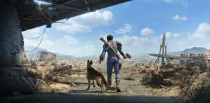 Bilder Apokalypse Fallout 4 Krieger Hinten Shepherd Patrol, Male Spiele Fantasy