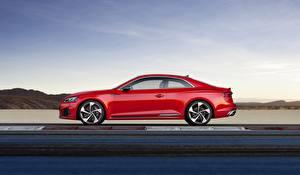 Bilder Audi Rot Seitlich RS5 A5 2018 Track Autos