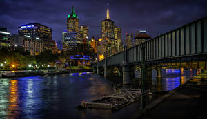 Picture Australia Melbourne Houses River Bridges Pier Night time Street lights Cities