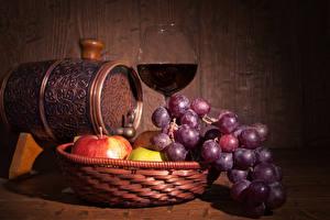 Image Barrel Wine Grapes Apples Wood planks Stemware