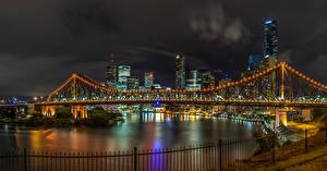 Wallpapers Brisbane Australia Building River Bridges Night time Fairy lights Fence Cities