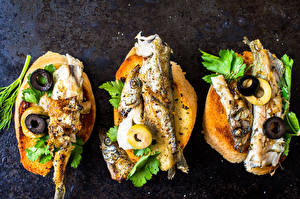 Wallpapers Butterbrot Seafoods Fish - Food Bread Olive Vegetables Food