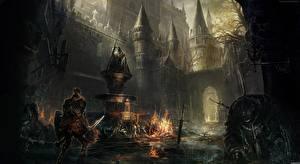 Bakgrundsbilder på skrivbordet Borg Krigare Dark Souls III Rustning Svärd Döda spel Fantasy