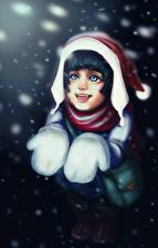 Fotos Neujahr Gezeichnet Schneeflocken Freude Fausthandschuhe Mütze Kleine Mädchen Mädchens