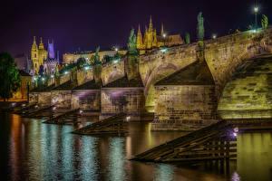 Wallpapers Czech Republic Prague River Bridges Houses Night time Street lights Holy Stone Bridge Cities
