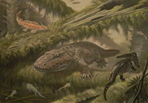 Photo Dinosaurs Painting Art Underwater Ancient animals Eryops Animals