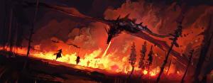 Bureaubladachtergronden Draken Vuur Krijgers Nacht Fantasy
