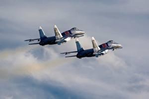 Fondos de escritorio Avións Avión de caza Sukhoi Su-30 Ruso Dos Vuelo SM Aviación