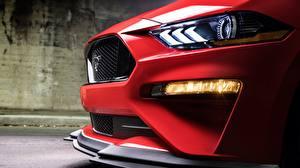 Fotos Ford Großansicht Rot Fahrzeugscheinwerfer Mustang GT2018 Level 2 Performance Pack Autos