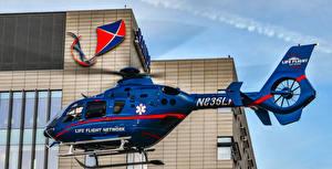 Hintergrundbilder Hubschrauber Blau Seitlich Flug