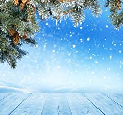 Fotos Feiertage Neujahr Bretter Ast Zapfen Schneeflocken