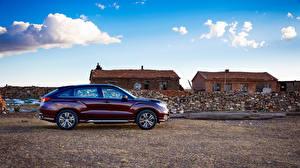 Bilder Honda Bordeauxrot Metallisch Seitlich 2016 Avancier Autos