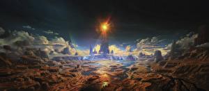 Bakgrunnsbilder Bokillustrasjoner Fantastisk verden Canyon The Lamps of the Valar, Illuin Sky-blue