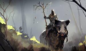 Bakgrunnsbilder Bokillustrasjoner Villsvin Krigere Cave Wizard Fantasy