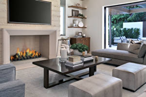 Wallpapers Interior Design Living room Fireplace