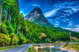 壁纸、、日本、山、公園、川、橋、森林、道、ハイダイナミックレンジ合成、Nara Park、自然