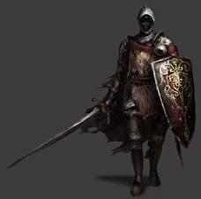 Wallpaper Knight Dark Souls III Armour Swords Shield Gray background Games Fantasy