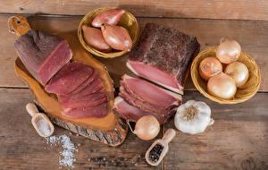 Bilder Fleischwaren Schinken Zwiebel Knoblauch Bretter Schneidebrett Salz
