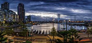 Fotos Melbourne Australien Haus Schiffsanleger Abend Brücke Bucht Straßenlaterne Städte