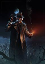 Papel de Parede Desktop Homem Pistolas Fallout 4 Noite Chapéu Robô videojogo Fantasia