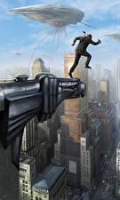 Desktop wallpapers Men in Black 3 Men Jump Fanart Movies