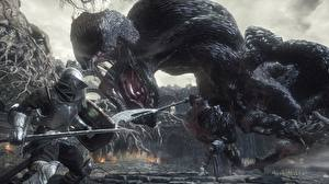 Pictures Monster Knight Fighting Dark Souls 3 Games 3D_Graphics Fantasy
