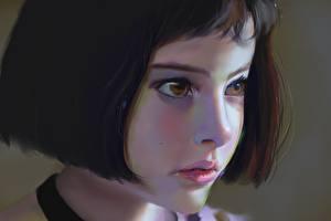 Desktop wallpapers Painting Art Natalie Portman Leon Face Brown haired Little girls Children