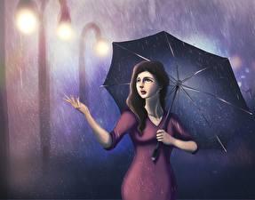 Bilder Gezeichnet Regen Regenschirm Mädchens