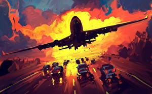 Fotos Verkehrsflugzeug Gezeichnet Start Luftfahrt