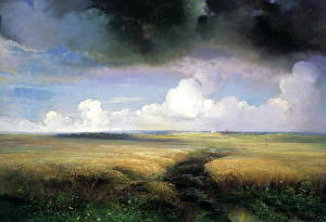 Image Pictorial art Storm cloud Grass Alexey Savrasov, Rye Nature