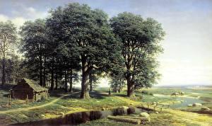 Hintergrundbilder Malerei Eichen Bäume Mikhail Clodt Oak Grove