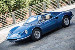 デスクトップの壁紙、、レトロ、Pininfarina、青、メタリック塗、オープンカー、1972-74 Dino 246 GTS con l'opzione Flares Worldwide、自動車