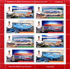 Pictures Russia Postage stamp Stadium FIFA Football World Cup 2018 Russia