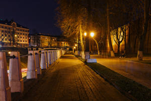 Photo Russia Houses Street Trees Street lights Fence Night time Nizhny Novgorod Cities