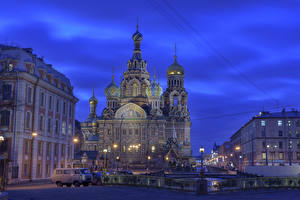 Pictures Russia St. Petersburg Temple Church Street lights Fence Night Cities