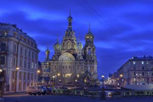 Bilder Russland Sankt Petersburg Tempel Kirche Straßenlaterne Zaun Nacht Städte