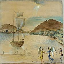 Hintergrundbilder Malerei Salvador Dali Malerei Landscape of Port Lligat with Homely Angels and Fisherman