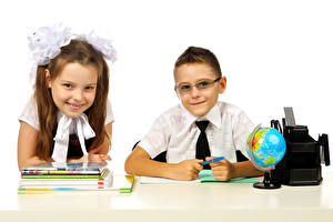 Images School White background Two Boys Little girls Smile Glasses Globe Notebooks child