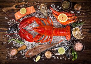 Picture Seafoods Nephropidae Caridea Fish - Food Lemons Seasoning Ice Food