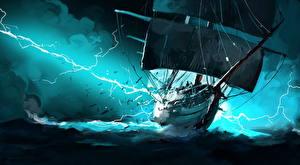 Fotos Schiffe Segeln Blitz Fantasy